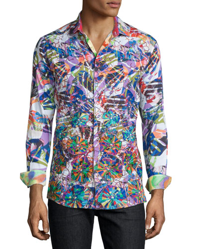 Limited Edition Allover Printed Sport Shirt, Multi