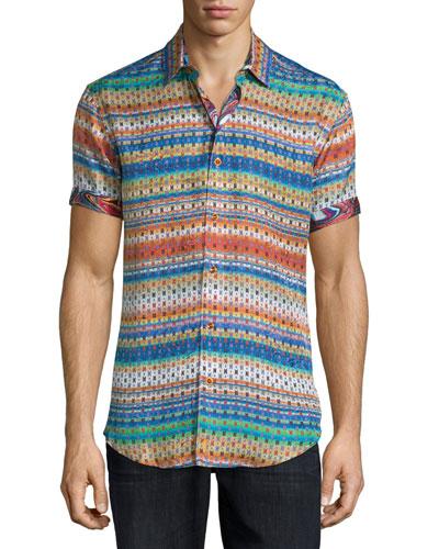 Multi-Print Short-Sleeve Sport Shirt, Multi