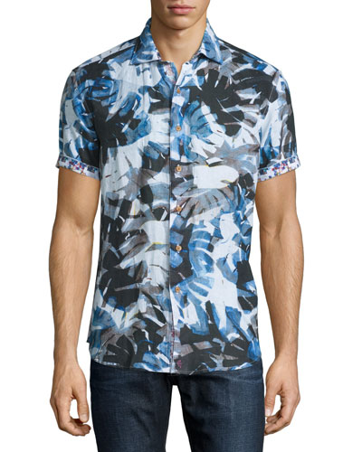 Printed Short-Sleeve Linen Shirt, Blue