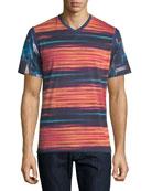 Multi-Printed V-Neck T-Shirt, Multicolor