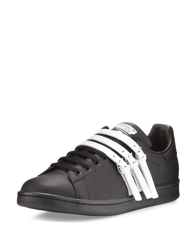 Stan Smith Strap-Front Leather Sneaker, Black/White