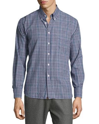 Tuscumbia Plaid Long-Sleeve Sport Shirt, Navy