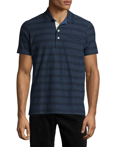 Pensacola Striped Jersey Polo Shirt, Blue