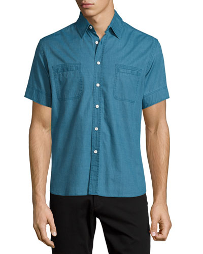 Short-Sleeve Cotton Shirt, Dark Teal