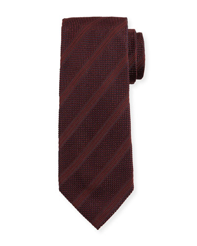 Textured Diagonal-Stripe Silk Tie, Wine