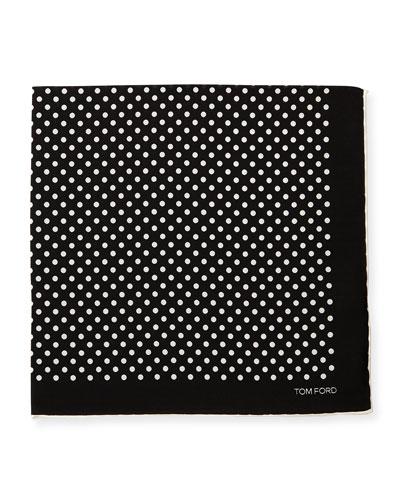 Polka-Dot Silk Pocket Square, White/Black