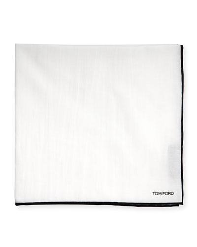 Solid Silk Pocket Square, White/Gray