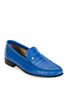 Classic Crocodile Leather Loafer, Blue