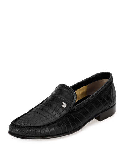 Crocodile Leather Classic Loafer, Black