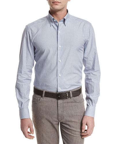 Shadow-Check Long-Sleeve Sport Shirt, Light Gray
