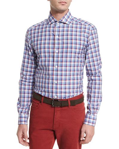 Plaid Long-Sleeve Sport Shirt, Orange