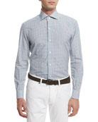 Open-Check Long-Sleeve Sport Shirt, Teal