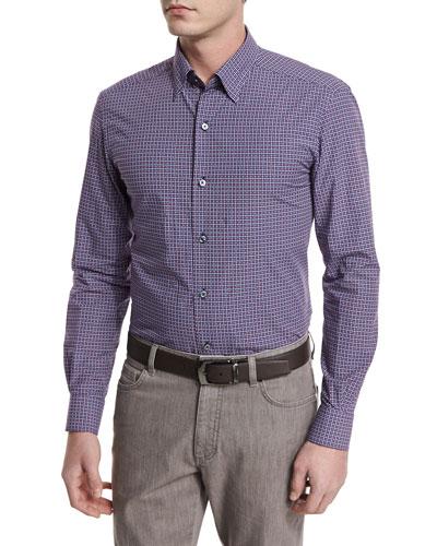 Jacquard-Check Long-Sleeve Sport Shirt, Navy