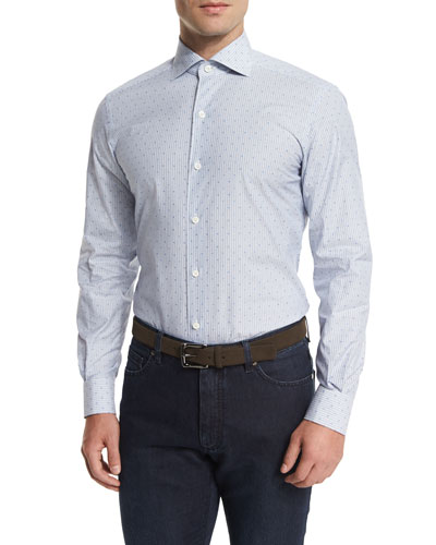 Jacquard-Stripe Long-Sleeve Sport Shirt, Light Blue