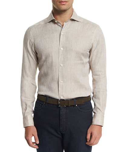 Linen Long-Sleeve Sport Shirt, Beige