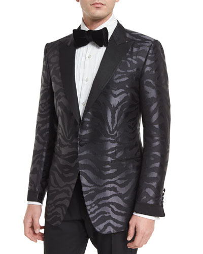 O'Connor Base Tonal Zebra-Print Silk Sport Jacket, Black