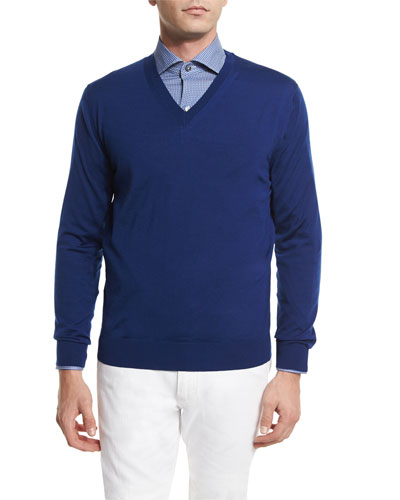 High-Performance Wool Sweater, Bright Blue