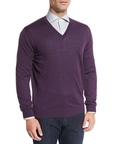 High-Performance Wool Sweater, Plum