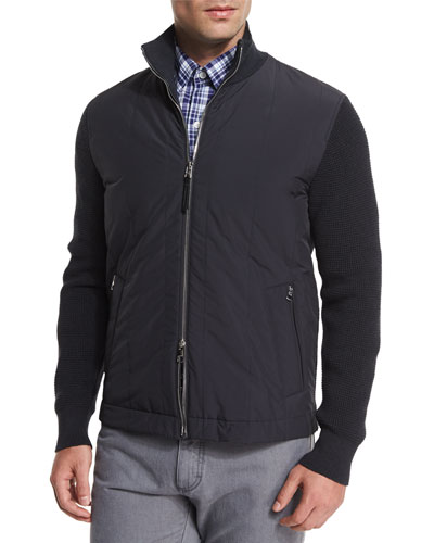 Microfiber Jacket with Knit Sleeves, Slate