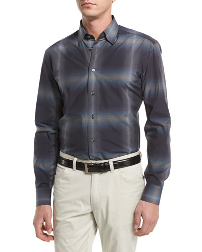 Ombre Mini-Check Sport Shirt, Navy
