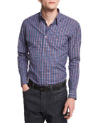 Brioni Check Long-Sleeve Sport Shirt, Burgundy