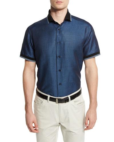 Geometric-Print Short-Sleeve Shirt with Contrast Trim, Navy