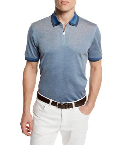 Contrast-Trim Zip Polo Shirt, Light Blue