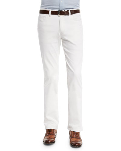 Five-Pocket Poplin Stretch Pants, White