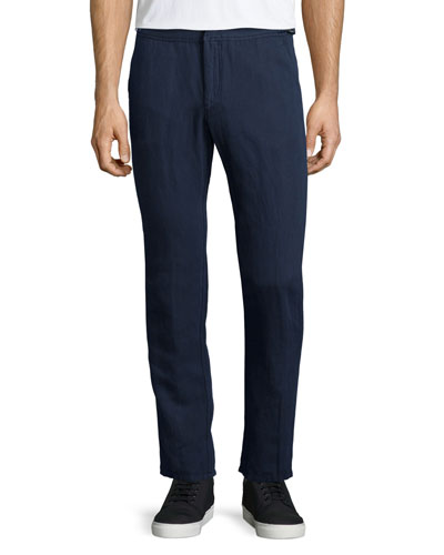 Bedlington Linen-Blend Pants, Navy
