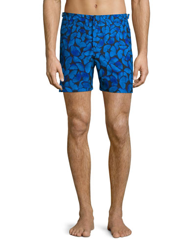 Bulldog Butterfly-Print Swim Trunks