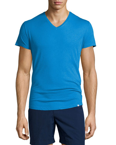 Short-Sleeve V-Neck T-Shirt, Butterfly Blue