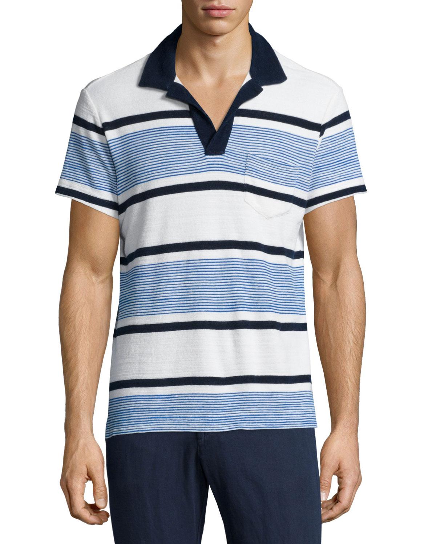 Terry Towel Striped ShortSleeve Polo Shirt
