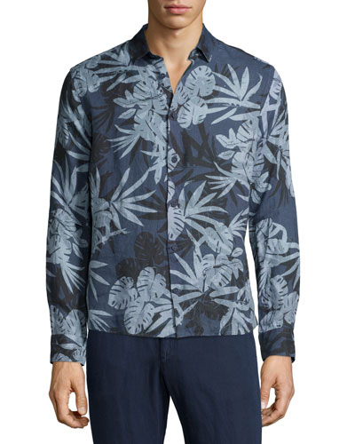 Malone Camo-Leaf Printed Sport Shirt