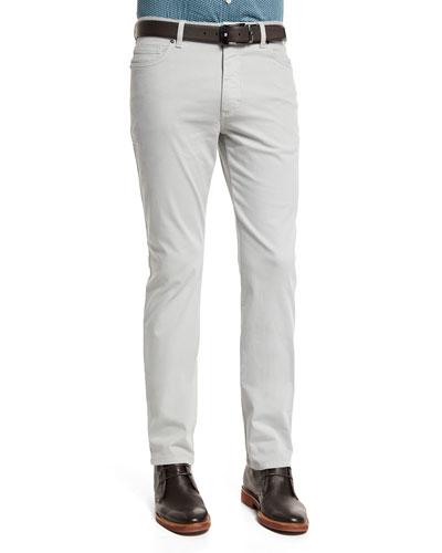Five-Pocket Stretch-Cotton Pants, Putty