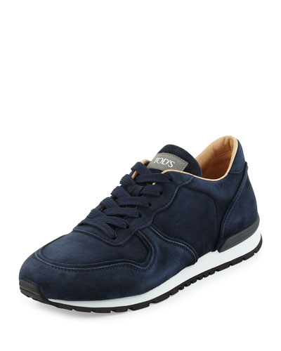 Suede Lace-Up Trainer Sneaker, Navy