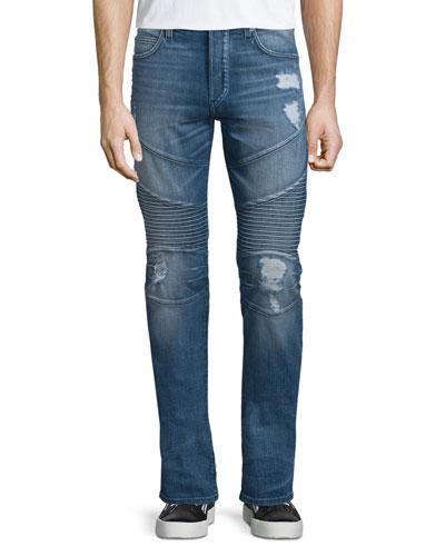 Rocco Ripped & Worn Moto Jeans, Worn Flagstone