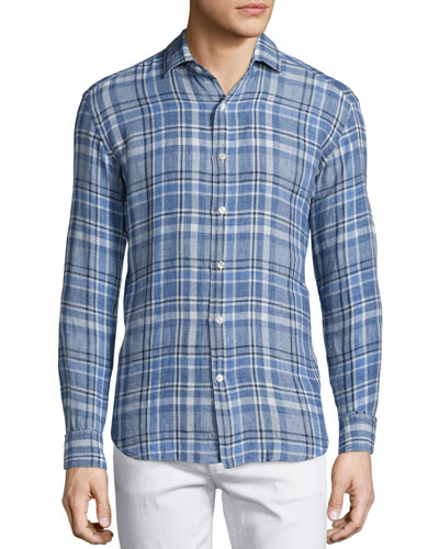 Plaid Linen Long-Sleeve Sport Shirt, Blue