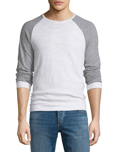 Colorblock Raglan-Sleeve Crewneck Shirt, White/Gray