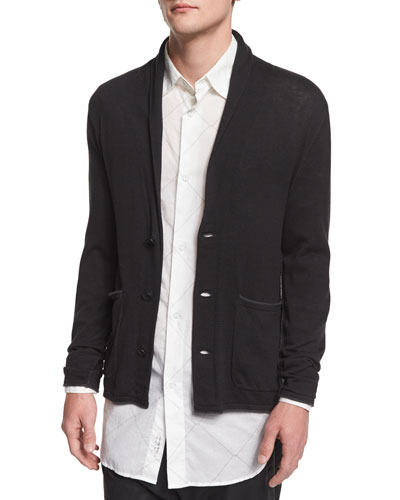 Lee Shawl-Collar Knit Cardigan, Black