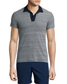 Felix Johnny-Collar Melange Polo Shirt, Navy
