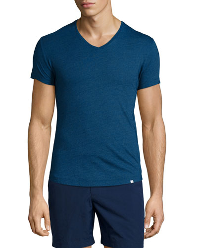 V-Neck Short-Sleeve Jersey T-Shirt, Denim Pigment