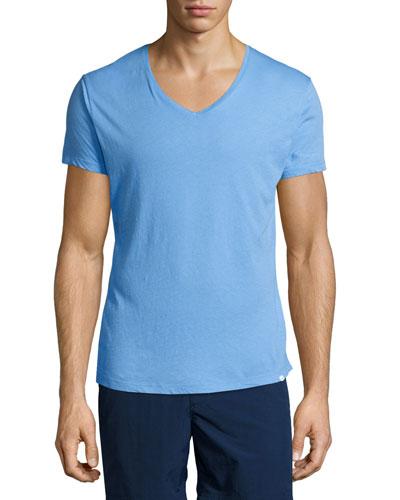 Riviera V-Neck Short-Sleeve T-Shirt, Blue