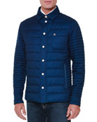 Quilted Button-Down Field Jacket, Blue
