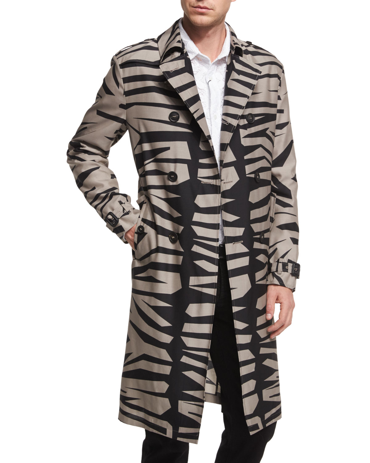Zebra-Print Silk-Blend Long Trench Coat, Taupe Gray/Black