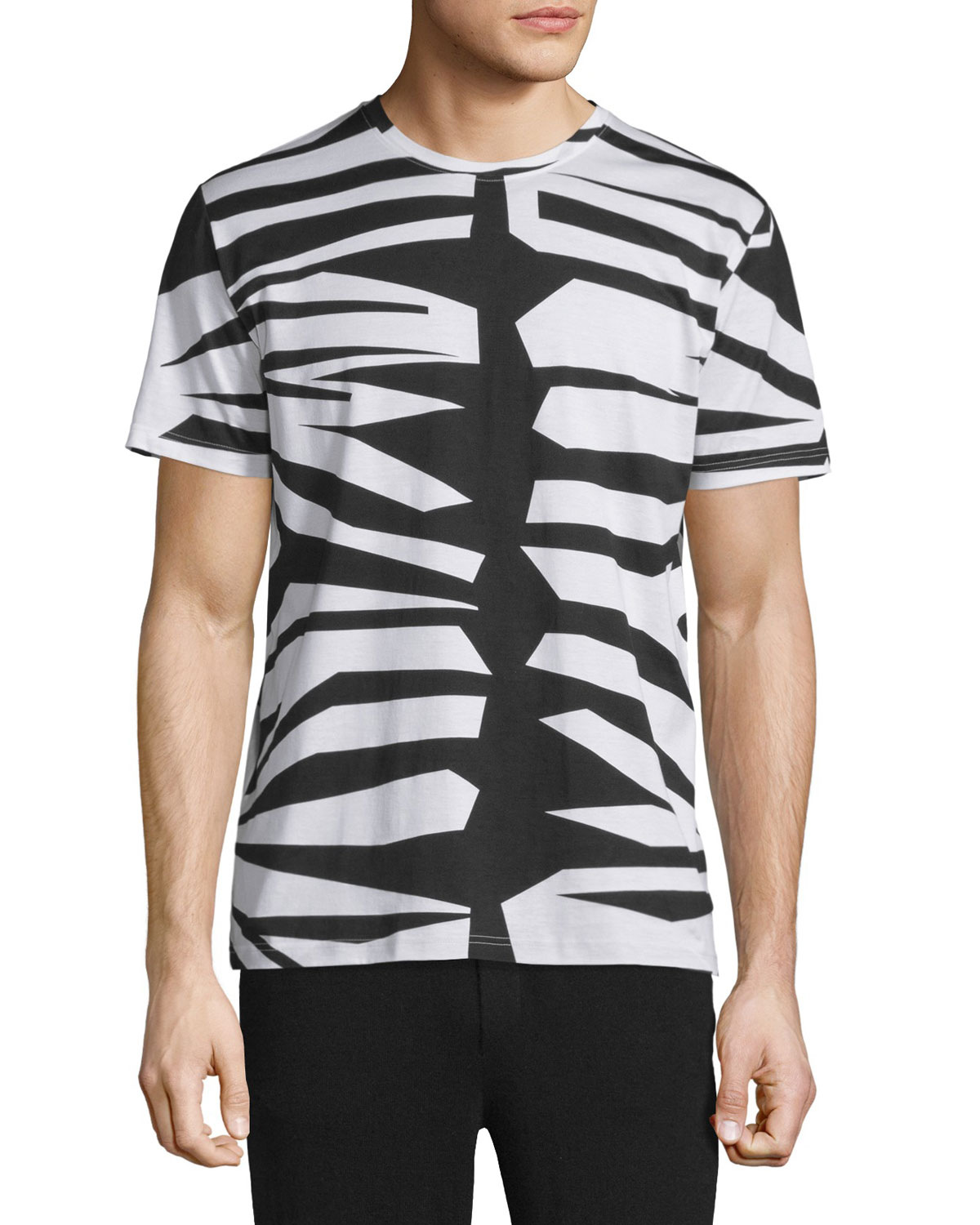 Animal-Print Short-Sleeve T-Shirt, Natural White