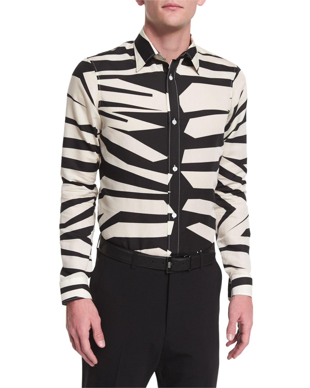 Animal-Print Long-Sleeve Shirt, Natural White
