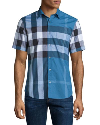 Exploded Check Short-Sleeve Shirt, Lupin Blue