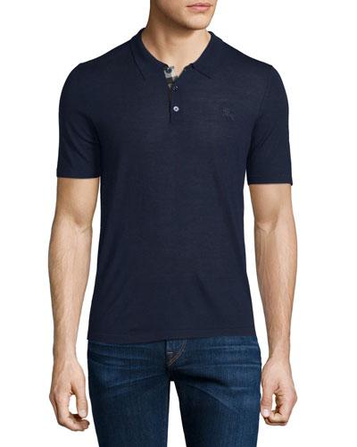 Short-Sleeve Check-Placket Polo Shirt, Indigo Blue