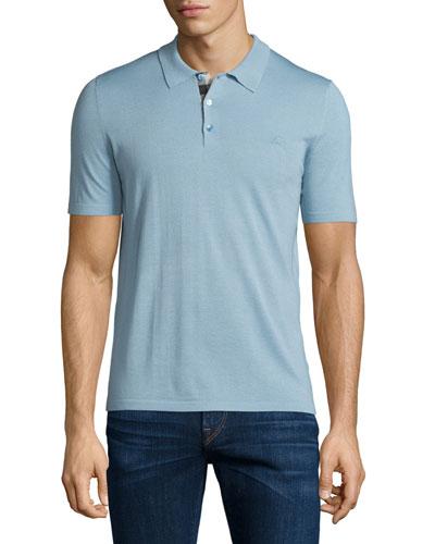 Short-Sleeve Check-Placket Polo Shirt, Pale Sky Blue