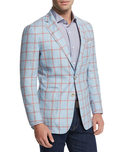 Hamptons Windowpane Wool-Blend Sport Coat, Blue